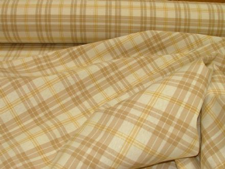 Prestigious Textiles Beige / Gold / Cream Check  Curtain / Soft Furnishing Fabric